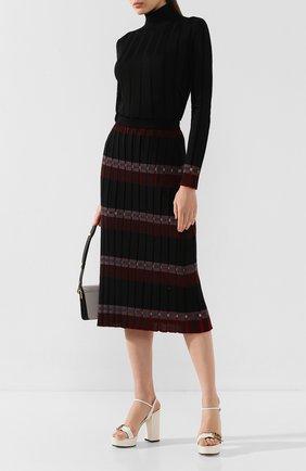 Женская юбка из смеси шерсти и вискозы MARNI черного цвета, арт. G0MD0027Q0/FW618 | Фото 2
