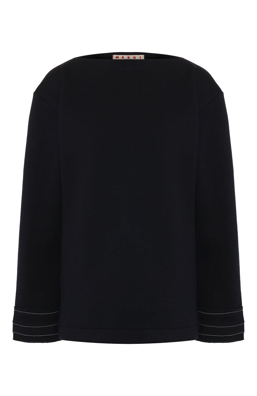Женский шерстяной пуловер MARNI темно-синего цвета, арт. FLJE0057DX/TW668   Фото 1