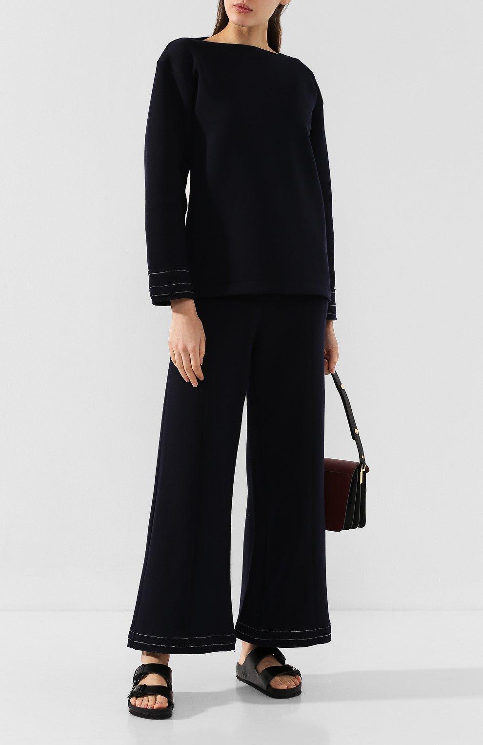Женский шерстяной пуловер MARNI темно-синего цвета, арт. FLJE0057DX/TW668   Фото 2