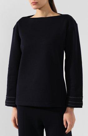 Женский шерстяной пуловер MARNI темно-синего цвета, арт. FLJE0057DX/TW668   Фото 3