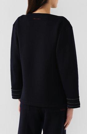 Женский шерстяной пуловер MARNI темно-синего цвета, арт. FLJE0057DX/TW668   Фото 4