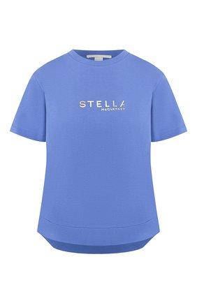 Женская хлопковая футболка STELLA MCCARTNEY синего цвета, арт. 593857/SNW19 | Фото 1