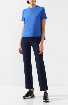 Женская хлопковая футболка STELLA MCCARTNEY синего цвета, арт. 593857/SNW19   Фото 2