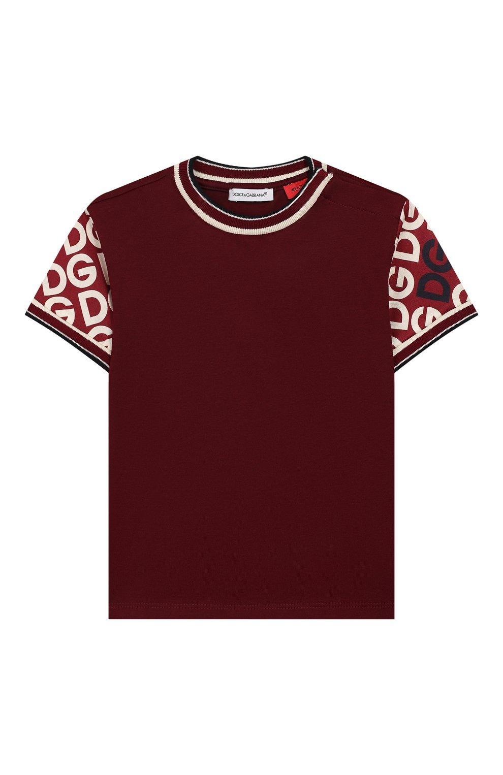 Детский хлопковая футболка DOLCE & GABBANA бордового цвета, арт. L1JT8A/G7TXE | Фото 1