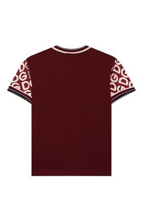 Детский хлопковая футболка DOLCE & GABBANA бордового цвета, арт. L1JT8A/G7TXE | Фото 2