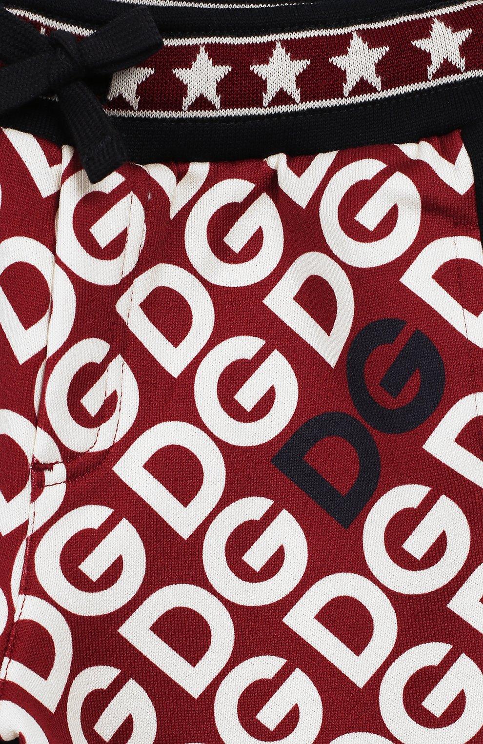 Детские хлопковые брюки DOLCE & GABBANA бордового цвета, арт. L1JPW3/G7TXJ   Фото 3