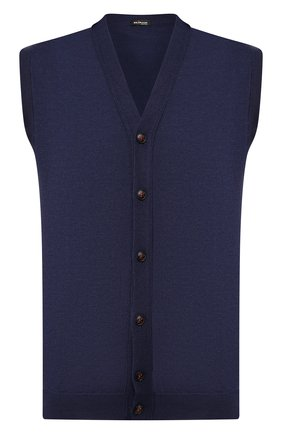 Мужской жилет из смеси кашемира и шелка KITON темно-синего цвета, арт. UK07T | Фото 1