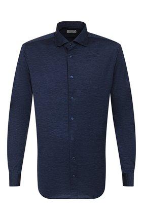 Мужская хлопковая рубашка ZILLI темно-синего цвета, арт. MFR-56014-MERCU/RJ02 | Фото 1