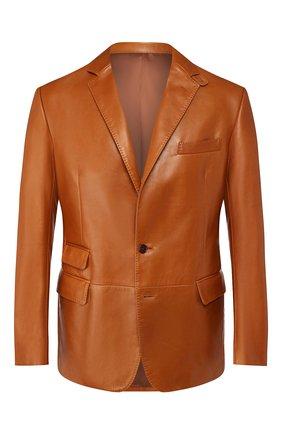 Мужской кожаный пиджак RALPH LAUREN светло-коричневого цвета, арт. 798764555 | Фото 1