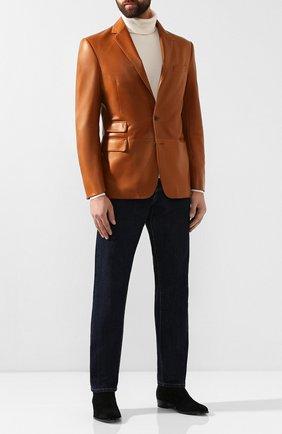 Мужской кожаный пиджак RALPH LAUREN светло-коричневого цвета, арт. 798764555 | Фото 2