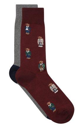 Мужские комплект их двух пар носков POLO RALPH LAUREN бордового цвета, арт. 449767219 | Фото 2