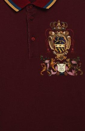 Детское хлопковое поло DOLCE & GABBANA бордового цвета, арт. L4JT7K/G7TTU/2-6   Фото 3