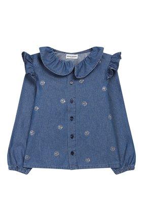 Детское джинсовая блузка SONIA RYKIEL ENFANT синего цвета, арт. 19W1SH02 | Фото 1