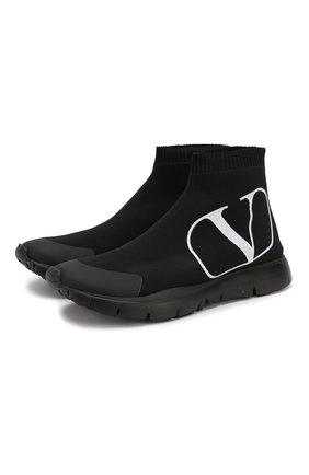 Женские текстильные кроссовки valentino garavani go logo VALENTINO черного цвета, арт. SW2S0G61/LSU   Фото 1