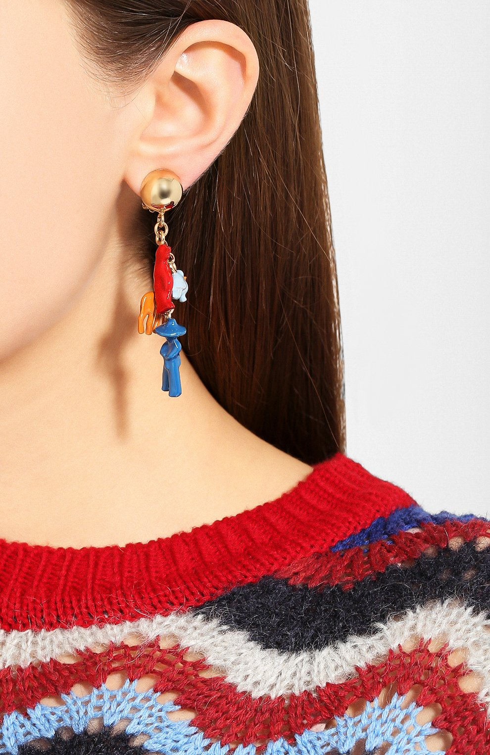 Женские серьги-клипсы MARNI красного цвета, арт. 0RMV0110A0/M2000 | Фото 4