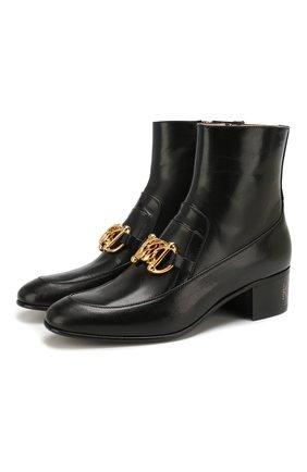 Женские кожаные ботинки horsebit GUCCI черного цвета, арт. 592519/D3V00 | Фото 1