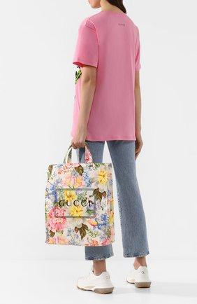 Женская сумка-тоут cabas GUCCI белого цвета, арт. 575140/GZ2A0 | Фото 2