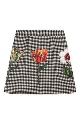 Детская юбка DOLCE & GABBANA черно-белого цвета, арт. L52I89/FQRB0/8-14 | Фото 1