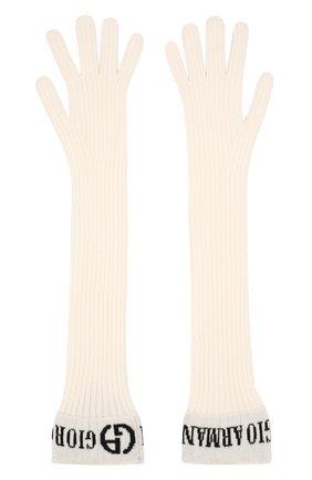Женские кашемировые перчатки GIORGIO ARMANI белого цвета, арт. 794276/9A299 | Фото 2