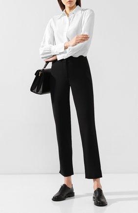 Женские шерстяные брюки GIORGIO ARMANI черного цвета, арт. 9WHPP08Z/T0028 | Фото 2 (Женское Кросс-КТ: Брюки-одежда; Материал внешний: Шерсть; Силуэт Ж (брюки и джинсы): Прямые; Длина (брюки, джинсы): Укороченные; Статус проверки: Проверена категория)