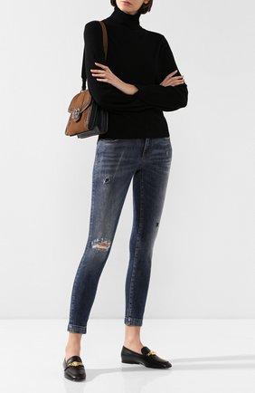 Женские джинсы с потертостями DOLCE & GABBANA синего цвета, арт. FTAH7D/G8BG8 | Фото 2
