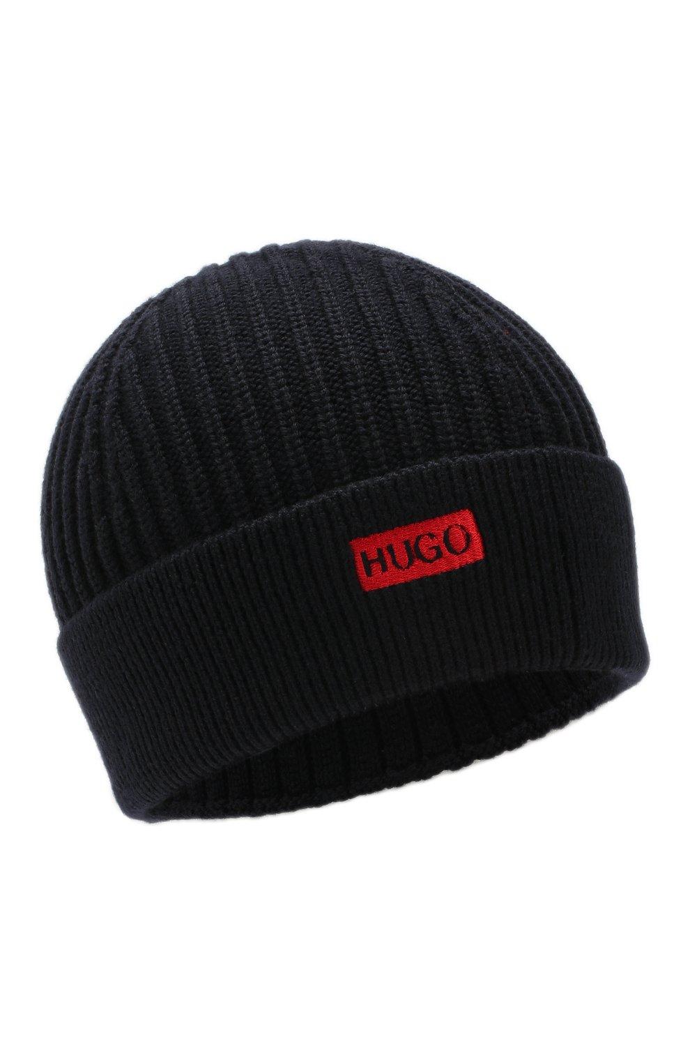 Мужская шерстяная шапка HUGO темно-синего цвета, арт. 50414419 | Фото 1