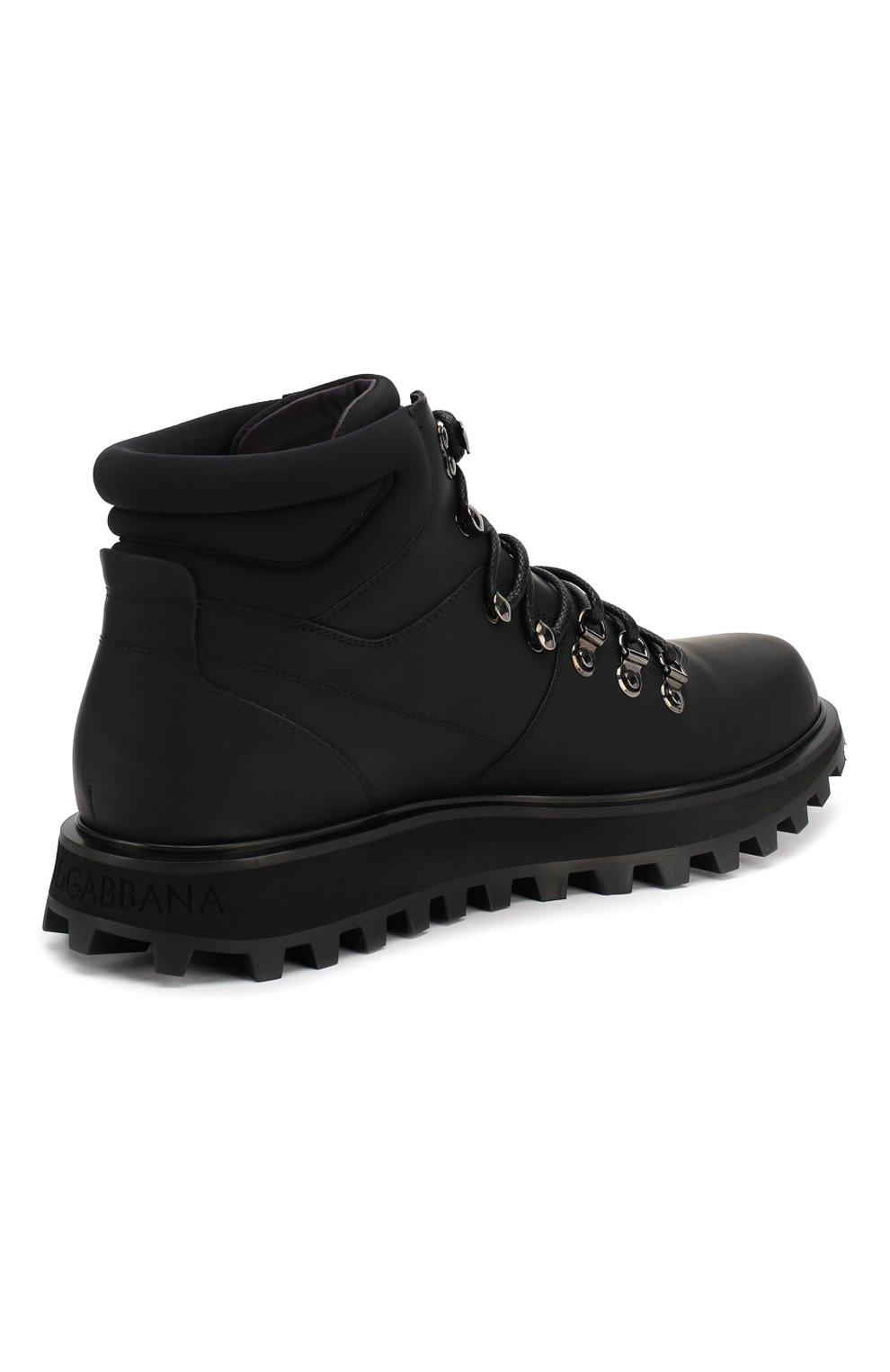 Мужские кожаные ботинки vulcano DOLCE & GABBANA черного цвета, арт. A60226/AA538 | Фото 4