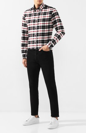 Мужская хлопковая рубашка RALPH LAUREN черно-белого цвета, арт. 790765533 | Фото 2