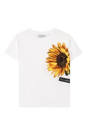Детский хлопковая футболка DOLCE & GABBANA белого цвета, арт. L2JTAZ/G7TTI | Фото 1