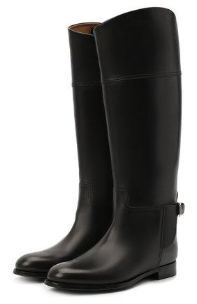 Женские кожаные сапоги RALPH LAUREN черного цвета, арт. 800692400 | Фото 1
