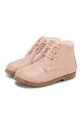 Детские кожаные ботинки AGE OF INNOCENCE розового цвета, арт. 000024/Z0EY LEATHER/27-33 | Фото 1