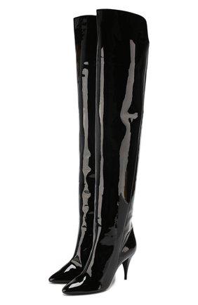 Женские кожаные ботфорты kiki SAINT LAURENT черного цвета, арт. 592346/1K500 | Фото 1