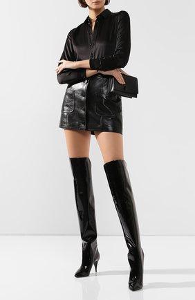 Женские кожаные ботфорты kiki SAINT LAURENT черного цвета, арт. 592346/1K500 | Фото 2