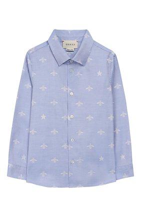 Детский хлопковая рубашка GUCCI голубого цвета, арт. 574545/XWAFI | Фото 1