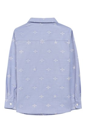 Детский хлопковая рубашка GUCCI голубого цвета, арт. 574545/XWAFI | Фото 2