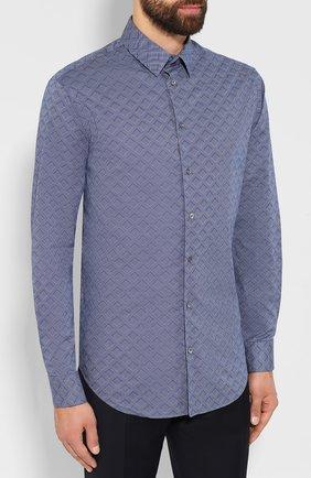 Мужская хлопковая сорочка GIORGIO ARMANI голубого цвета, арт. 8WGCCZ97/TZ419   Фото 3
