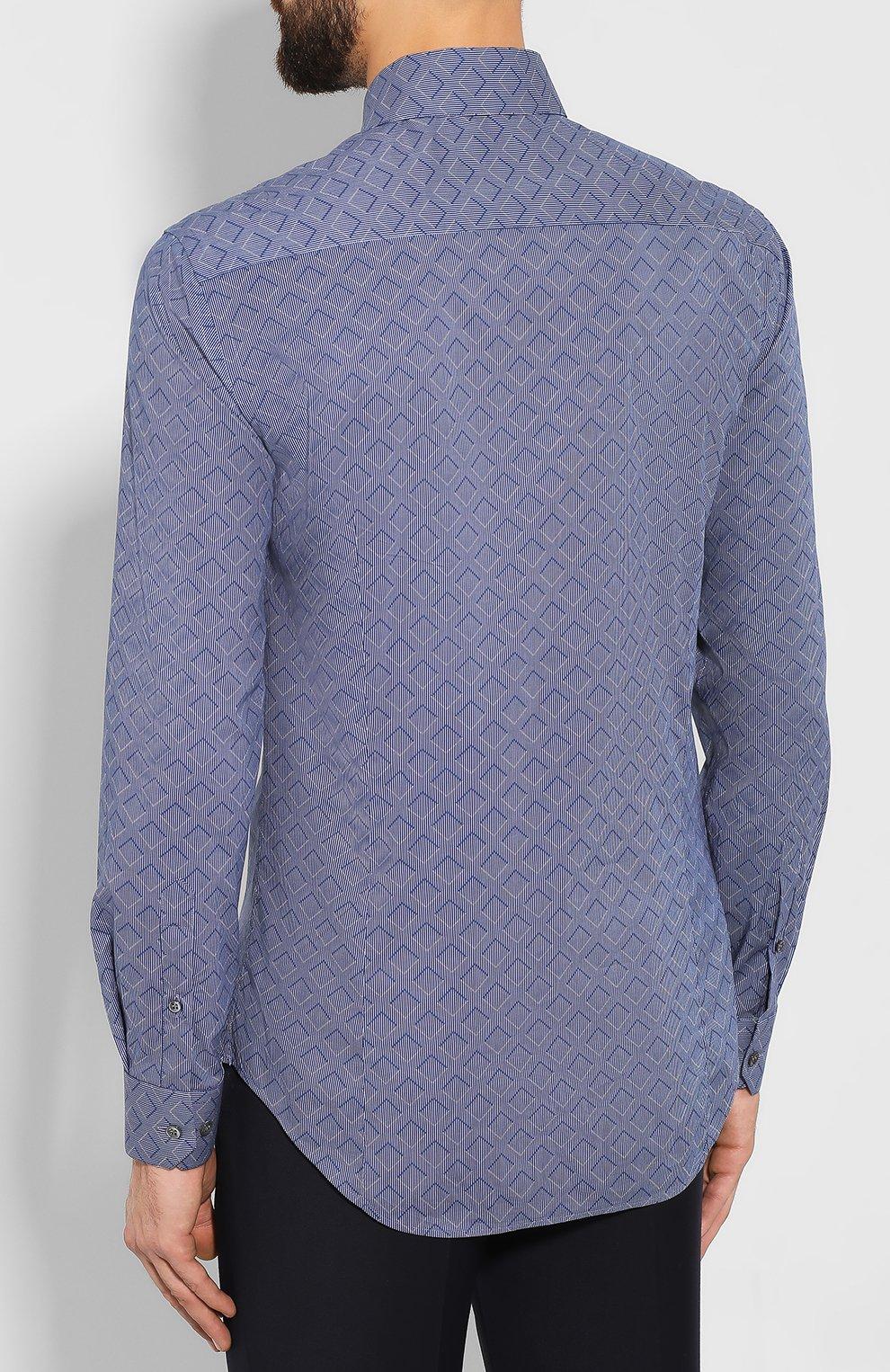Мужская хлопковая сорочка GIORGIO ARMANI голубого цвета, арт. 8WGCCZ97/TZ419   Фото 4