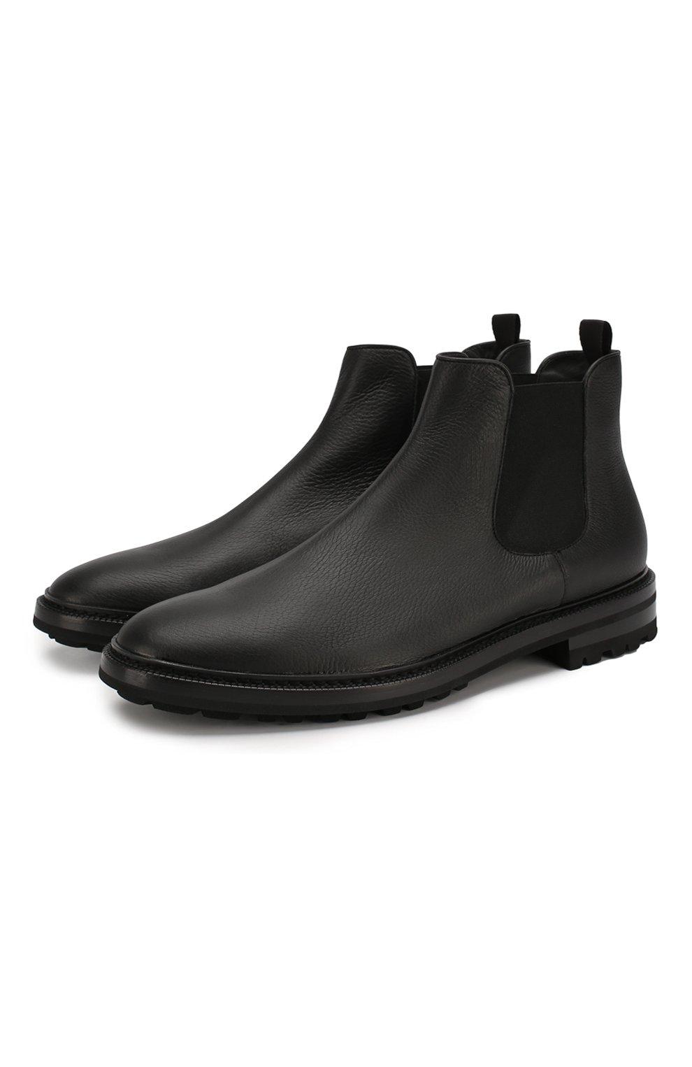 Мужские кожаные челси GIORGIO ARMANI черного цвета, арт. X2M296/XF407   Фото 1