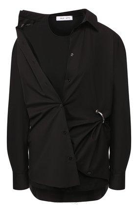 Женская хлопковая рубашка ACT N1 черного цвета, арт. PFT1912   Фото 1 (Рукава: Длинные; Материал внешний: Хлопок; Материал подклада: Хлопок; Принт: Без принта; Женское Кросс-КТ: Рубашка-одежда; Длина (для топов): Удлиненные; Статус проверки: Проверена категория)