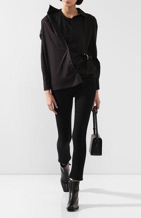 Женская хлопковая рубашка ACT N1 черного цвета, арт. PFT1912   Фото 2 (Рукава: Длинные; Материал внешний: Хлопок; Материал подклада: Хлопок; Принт: Без принта; Женское Кросс-КТ: Рубашка-одежда; Длина (для топов): Удлиненные; Статус проверки: Проверена категория)