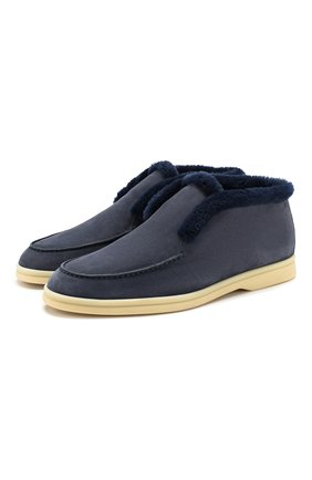 Женские замшевые ботинки open walk LORO PIANA синего цвета, арт. FAG3602 | Фото 1