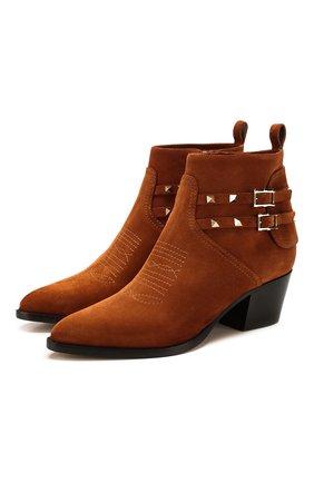Женские замшевые ботинки valentino garavani rockstud VALENTINO коричневого цвета, арт. SW0S0S04/GEF | Фото 1