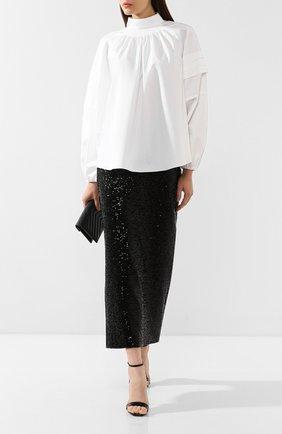 Женская хлопковая блузка ADAM LIPPES белого цвета, арт. F19104CS | Фото 2 (Материал внешний: Хлопок; Длина (для топов): Удлиненные; Рукава: Длинные; Статус проверки: Проверена категория; Принт: Без принта; Женское Кросс-КТ: Блуза-одежда)