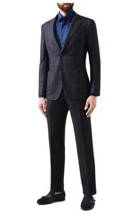 Мужская хлопковая рубашка ZILLI темно-синего цвета, арт. MFS-MERCU-56053/RJ01 | Фото 2