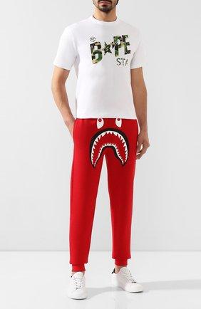 Мужской хлопковые джоггеры BAPE красного цвета, арт. 1F80152006 | Фото 2