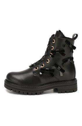 Детские кожаные ботинки SIMONETTA черного цвета, арт. SITR0006/MEND0ZA/28-34 | Фото 2