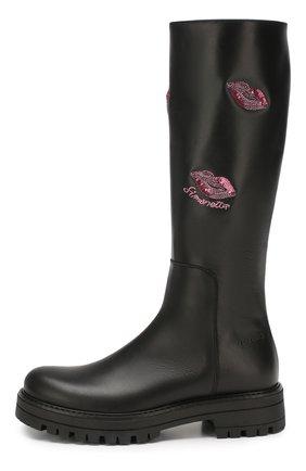 Детские кожаные сапоги SIMONETTA черного цвета, арт. SIST0001/S0FTY/35-40 | Фото 2