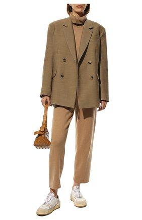 Женские брюки из смеси шерсти и кашемира ADDICTED бежевого цвета, арт. MK916   Фото 2