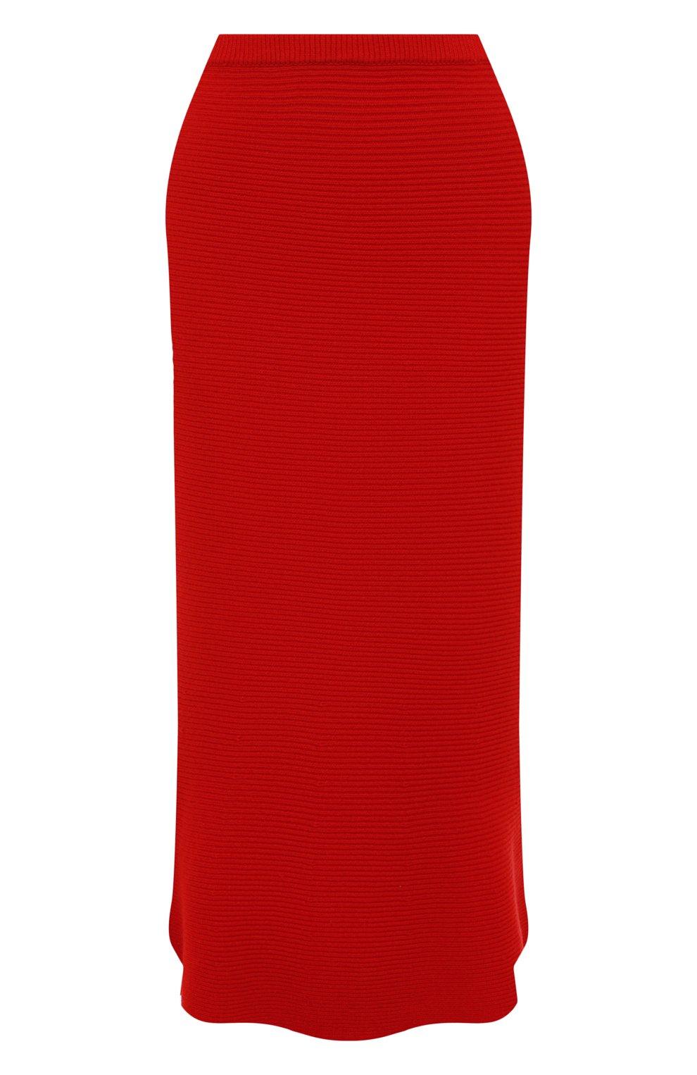 Женская кашемировая юбка ADDICTED красного цвета, арт. MK922   Фото 1 (Материал внешний: Шерсть; Кросс-КТ: Трикотаж; Длина Ж (юбки, платья, шорты): Миди; Статус проверки: Проверено)