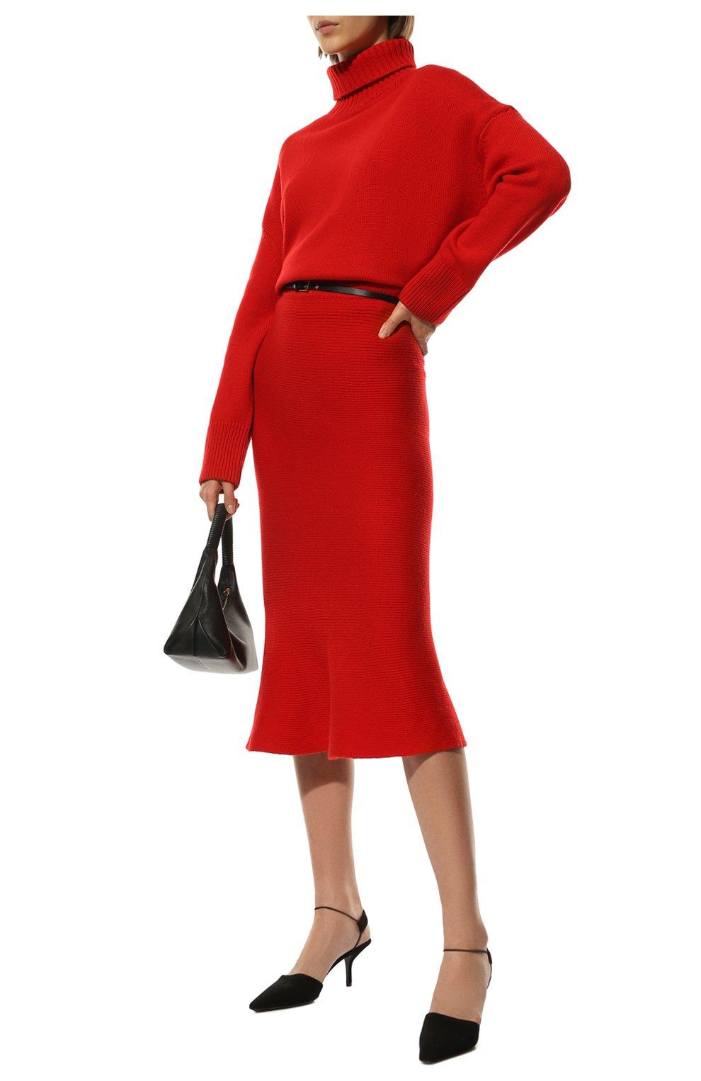 Женская кашемировая юбка ADDICTED красного цвета, арт. MK922   Фото 2 (Материал внешний: Шерсть; Кросс-КТ: Трикотаж; Длина Ж (юбки, платья, шорты): Миди; Статус проверки: Проверено)